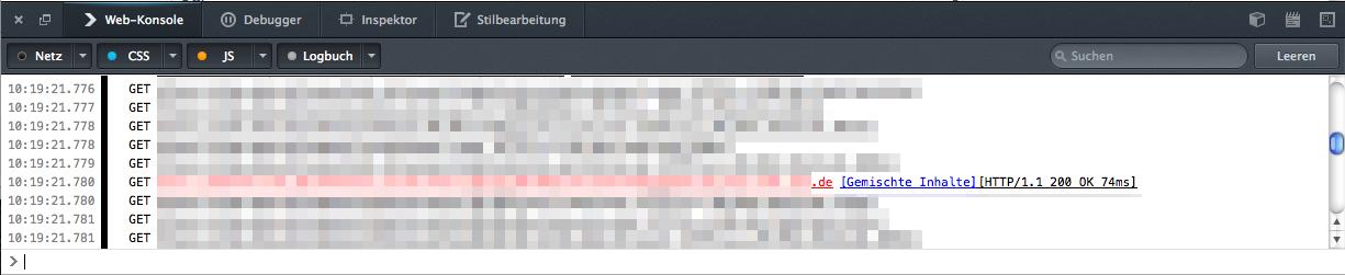 Debugging in der Web-Konsole
