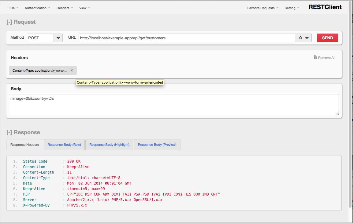 Screenshot von RESTClient beim Debugging von POST-Formularen