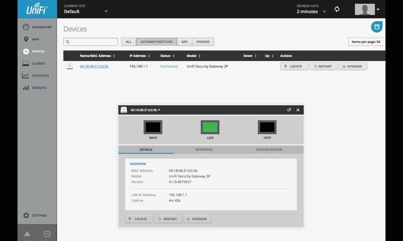 USG über UniFi Controller Software adoptieren