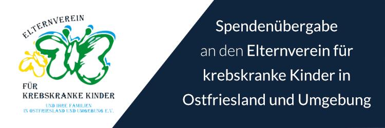 Spendenübergabe an den Elternverein für krebskranke Kinder in Ostfriesland und Umgebung